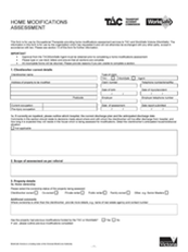 TAC VWA Home Modifications Assessment Form Community Based OTs
